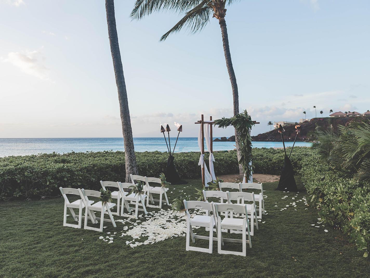 outdoor wedding venue next to ocean