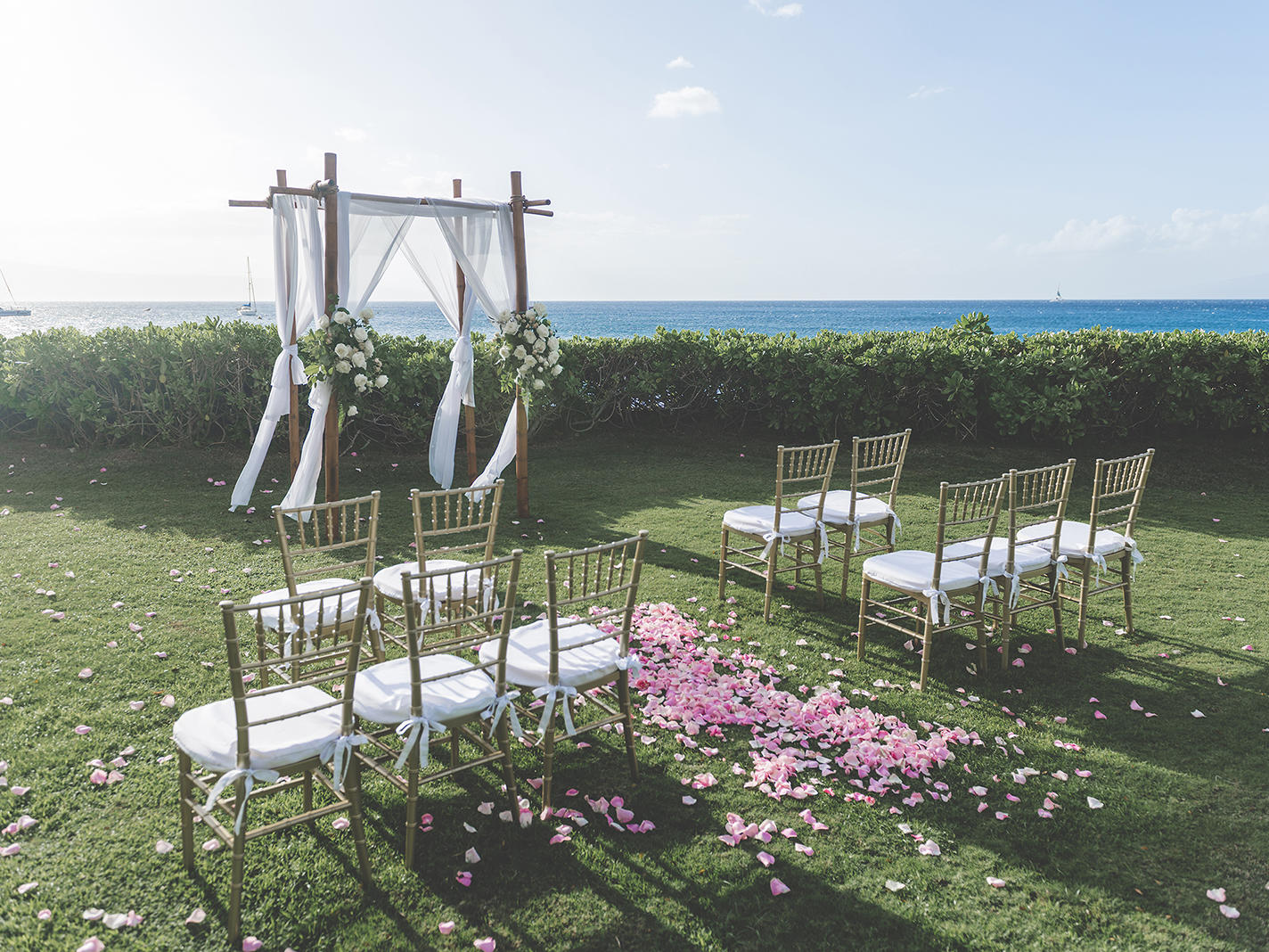 outdoor wedding venue in tropical setting with ocean