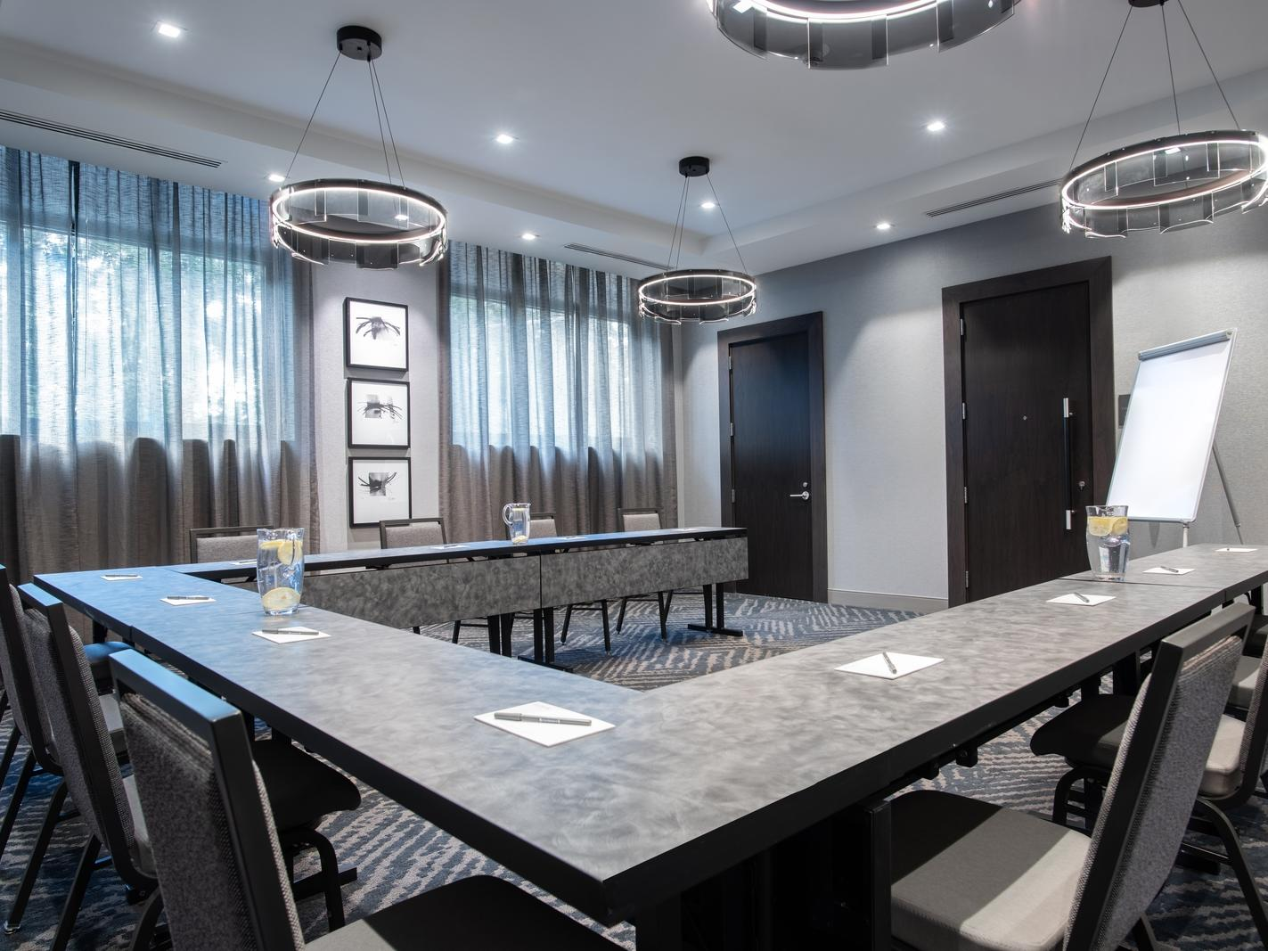 modern conference room with u-shaped table