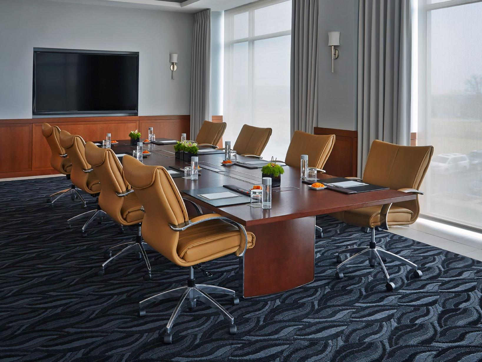 a large conference table in a meeting room