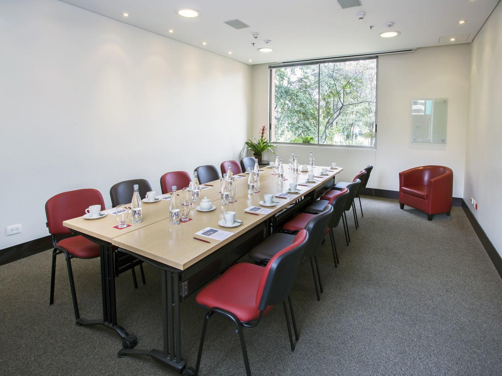 long-table boardroom setup