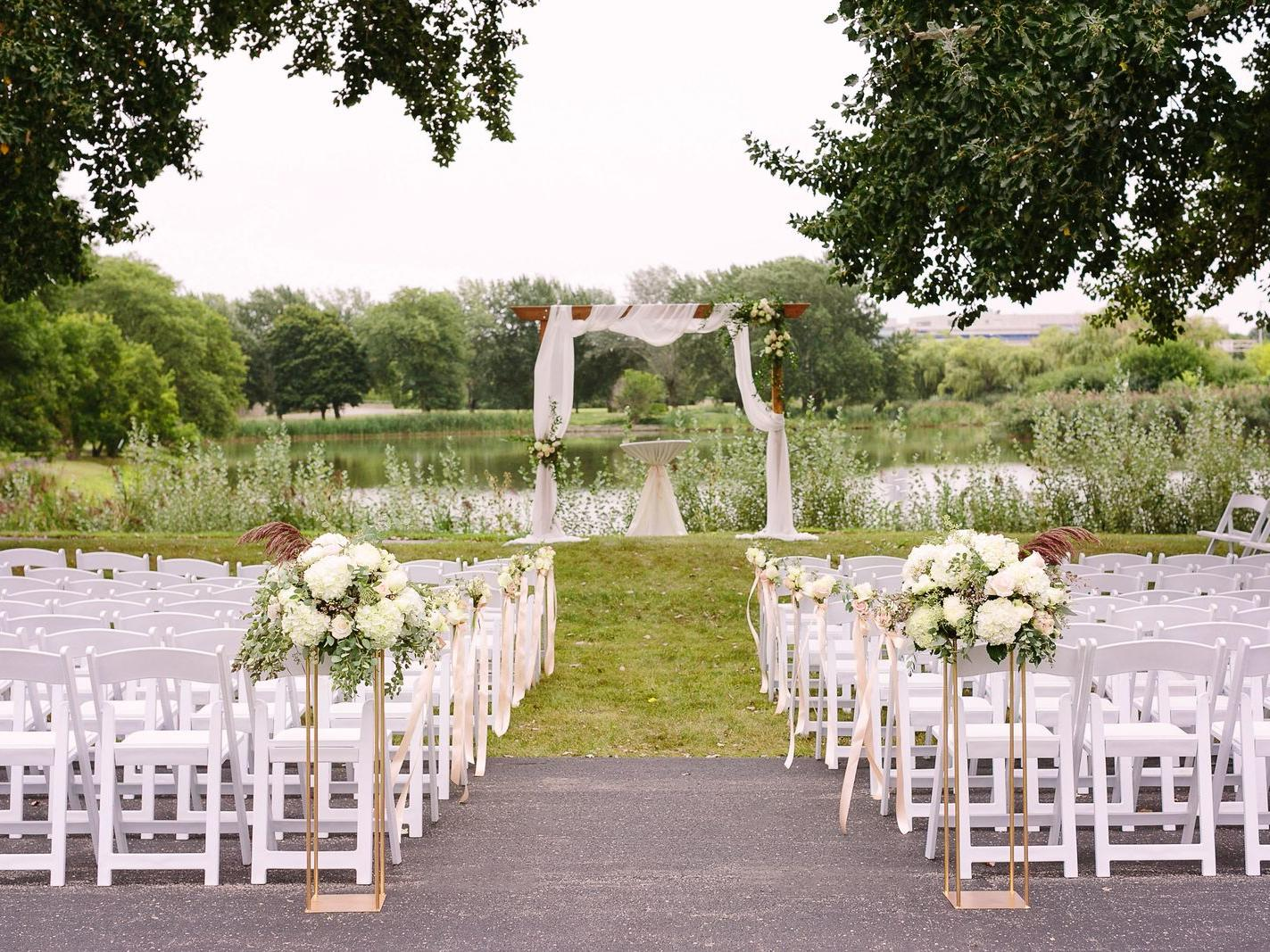 chairs for a wedding ceremony outside