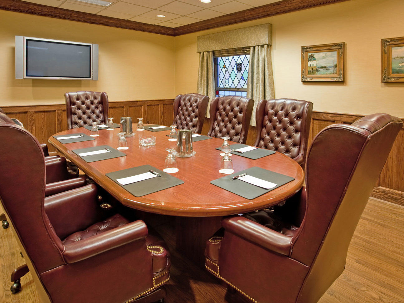 a large conference room table