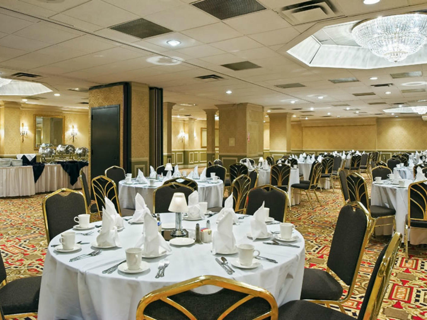 chairs and tables in a large ballroom