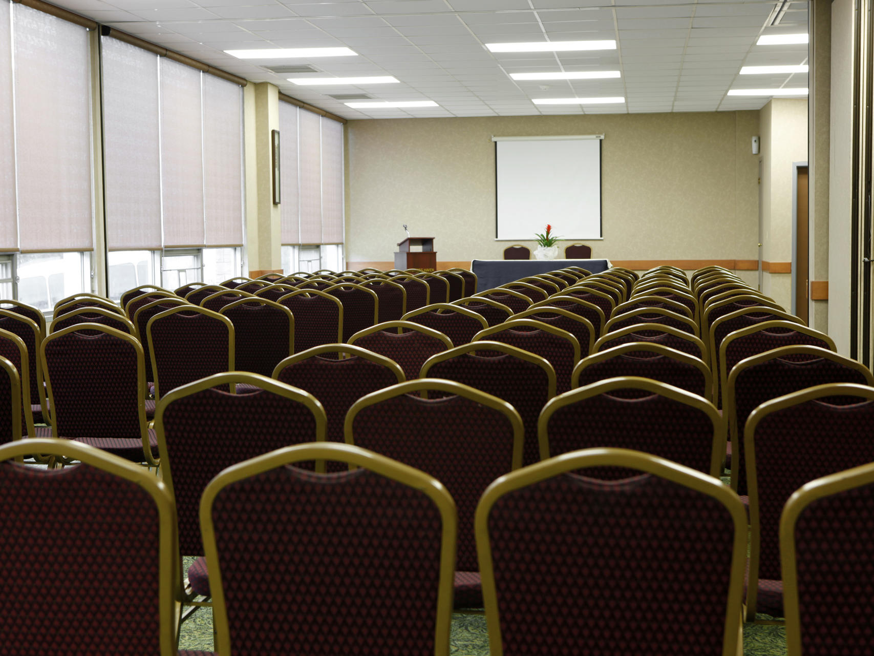 Chairs set up for a conference