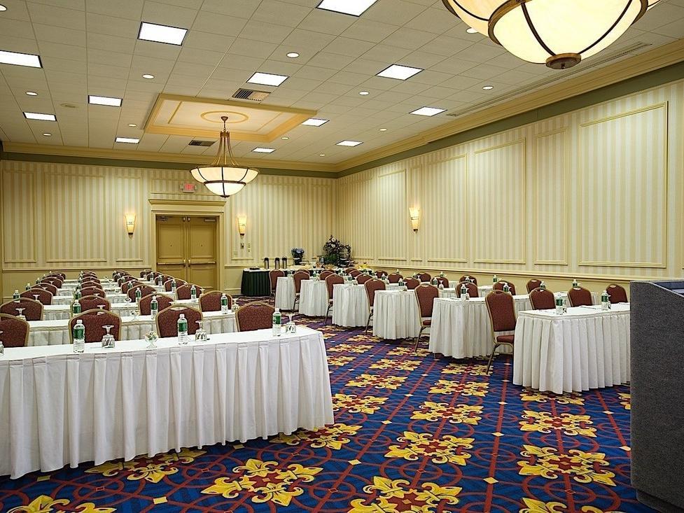 Banquet tables in ballroom