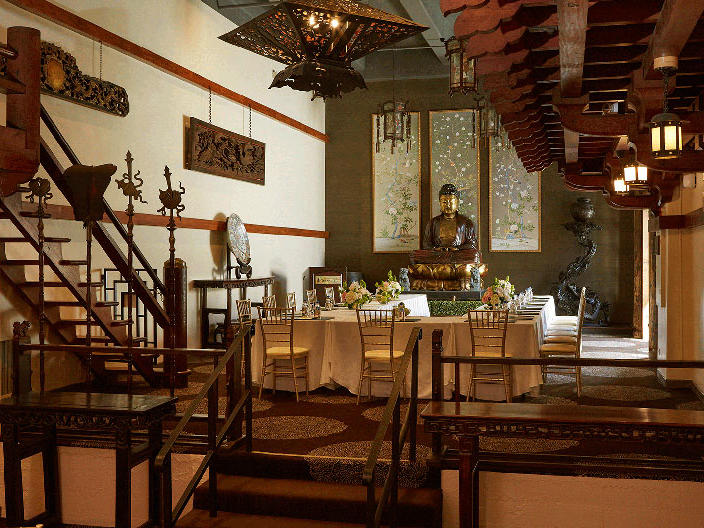 Mission Inn dining room with decorated table