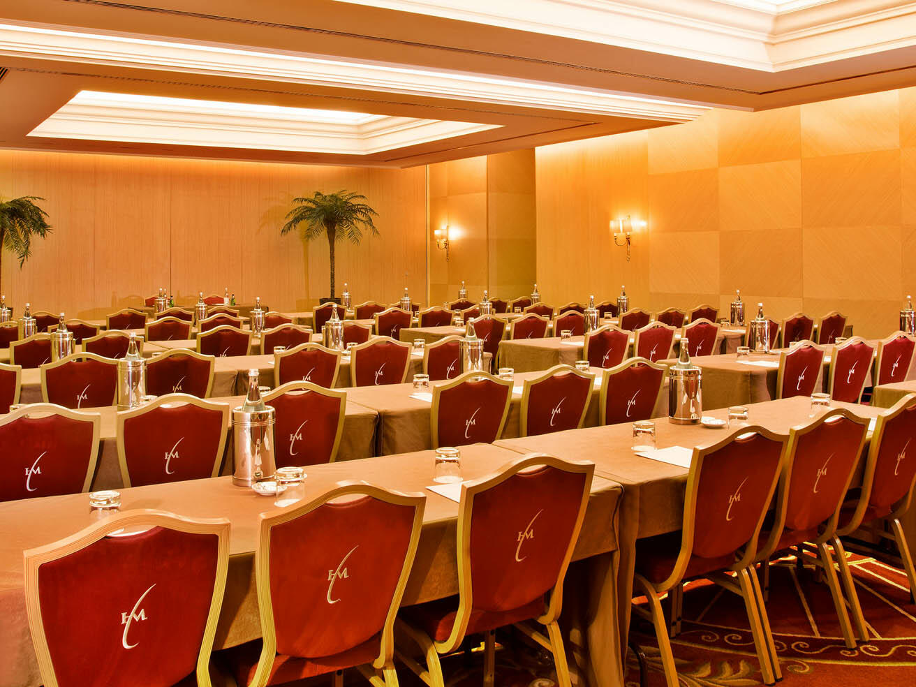 Meeting Room with long tables in rows at Hotel Cascais Miragem