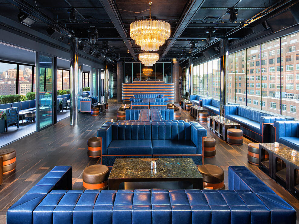 The seating area of PH-D Rooftop Lounge at Dream Downtown NYC