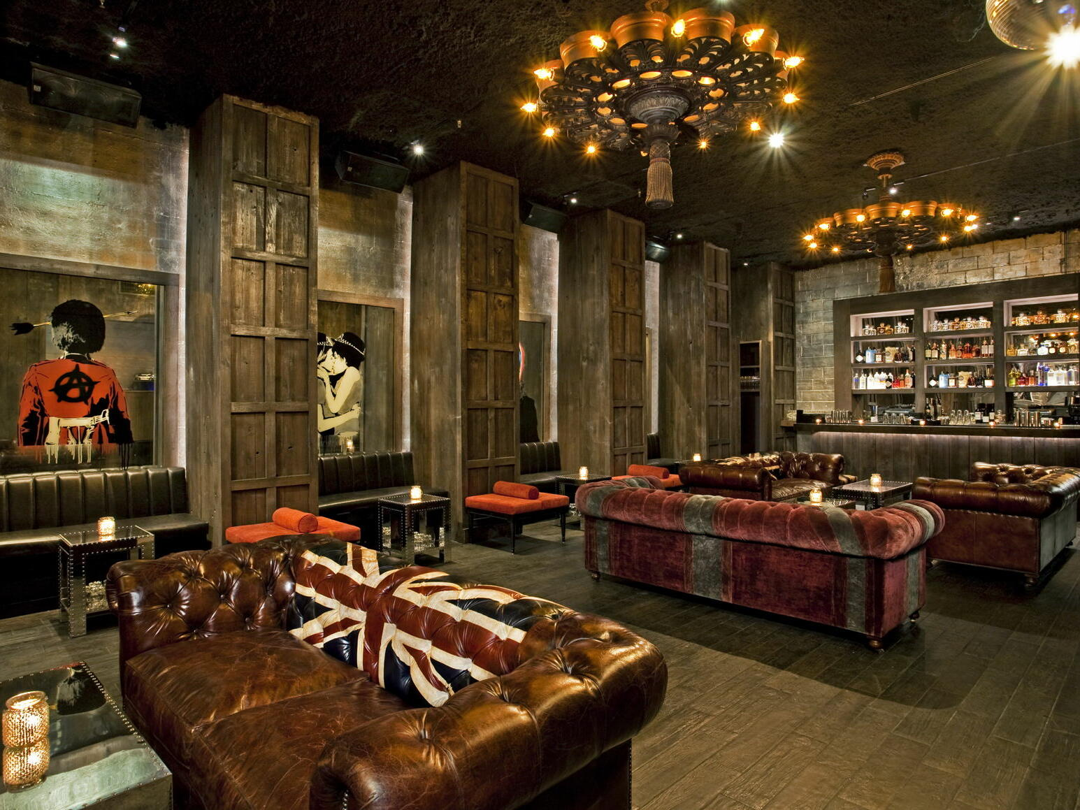 Leather sofas placed in the Electric Room at Dream Downtown NYC