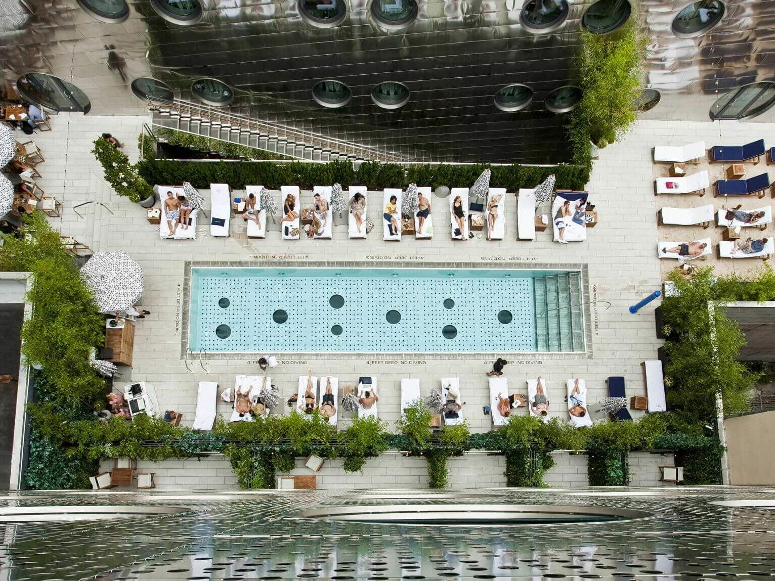 Aerial view of the Dream Beach pool  at Dream Downtown New York