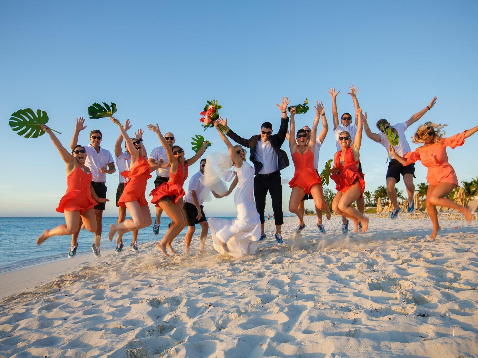 Wedding Crew at the beach near Somerset On Grace Bay