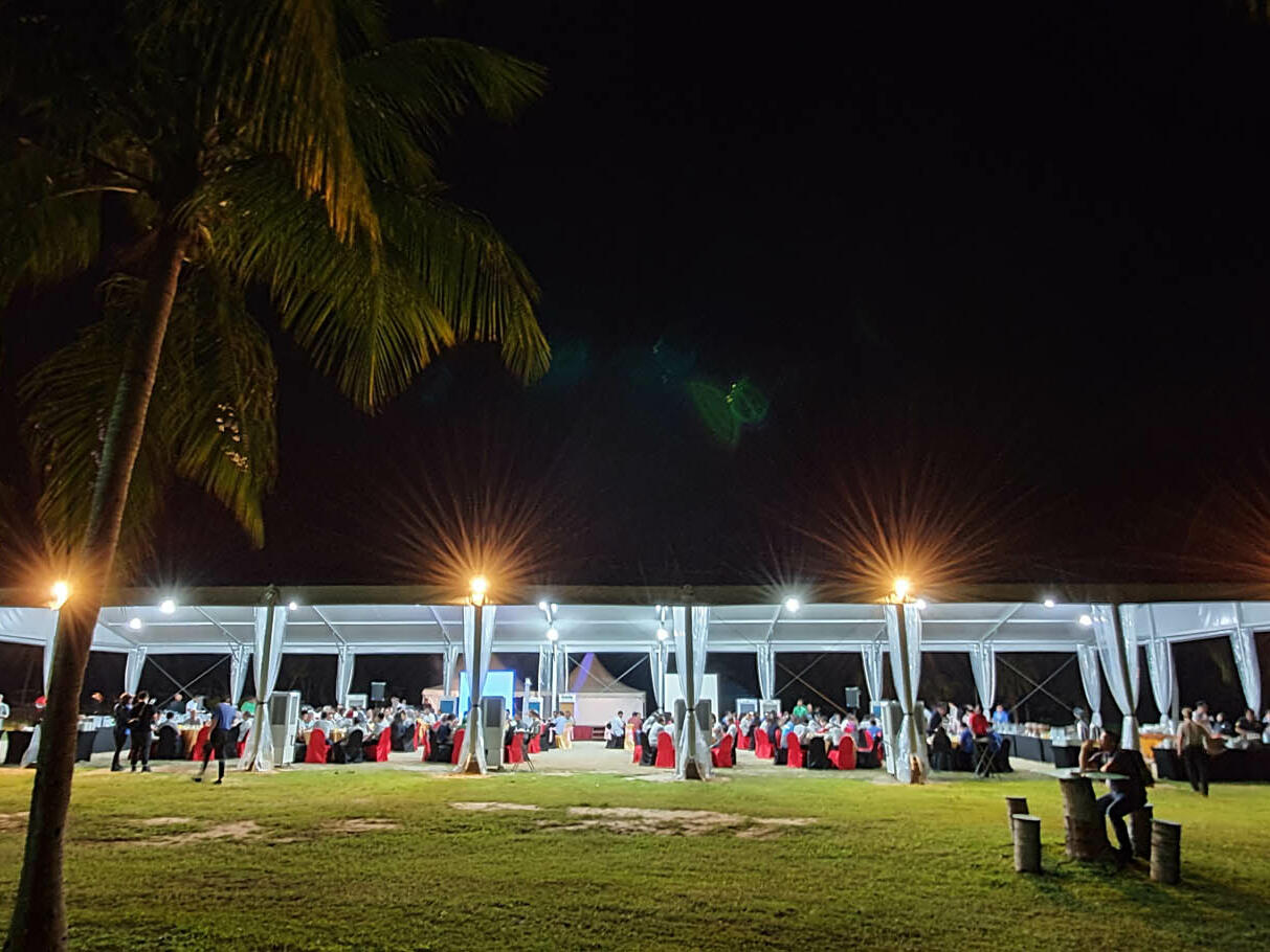 A wedding reception at the Marquee outdoor area