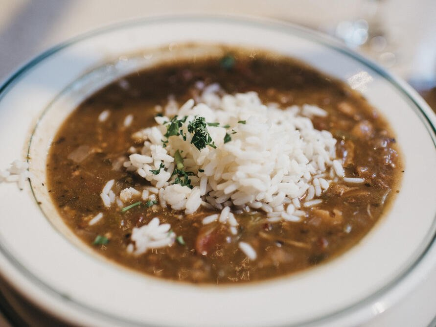 A dish of Gumbo in a restaurant at Windsong Resort On The Reef