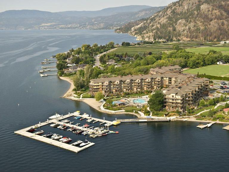 Aerial Shot Cove Lakeside Resort Okanagan Lake