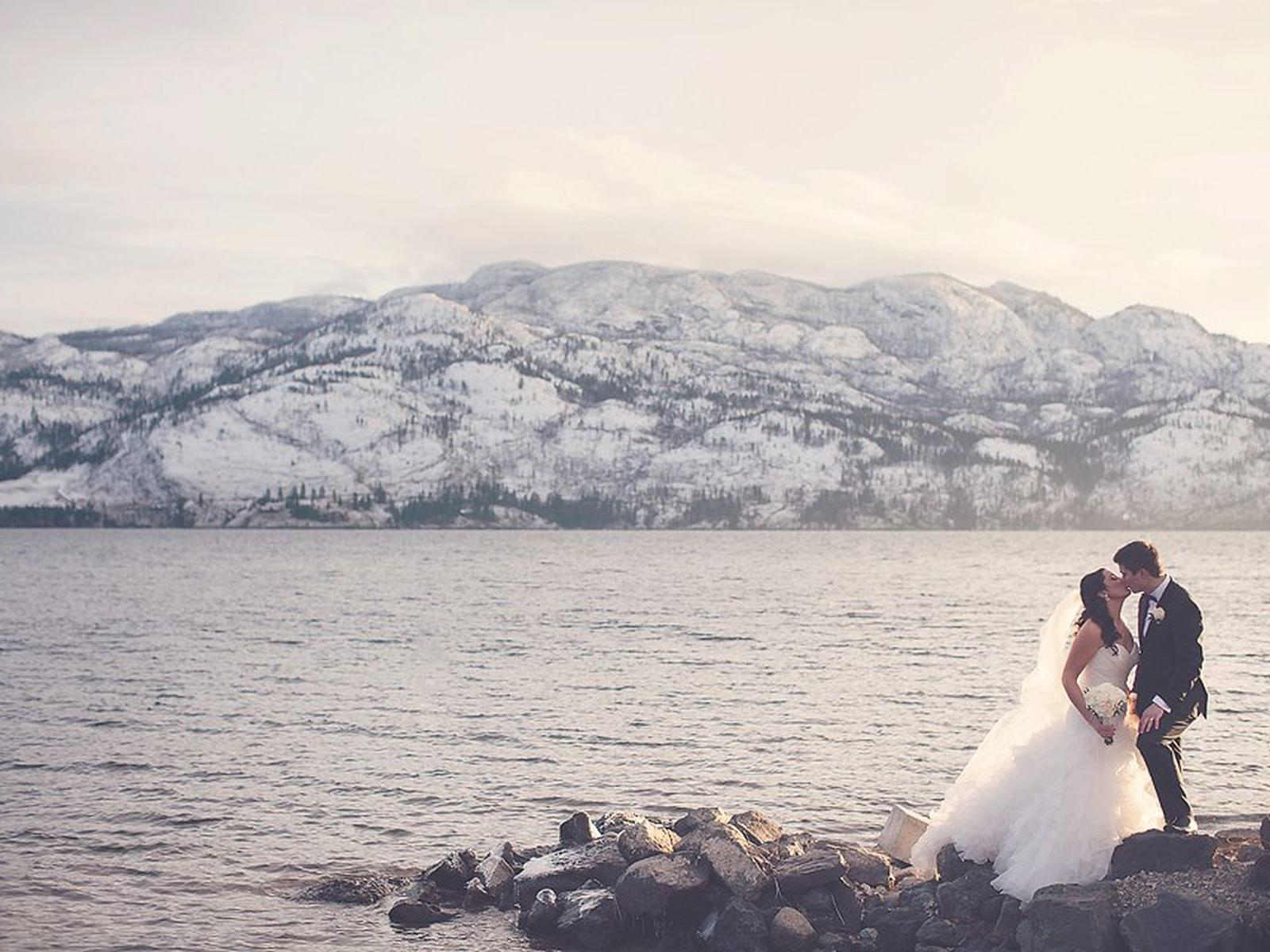 Winter Wedding Lakeside Cove Portrait