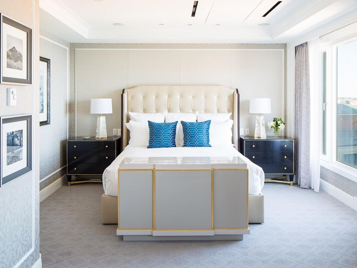 Suite master bedroom with king bed and nightstands