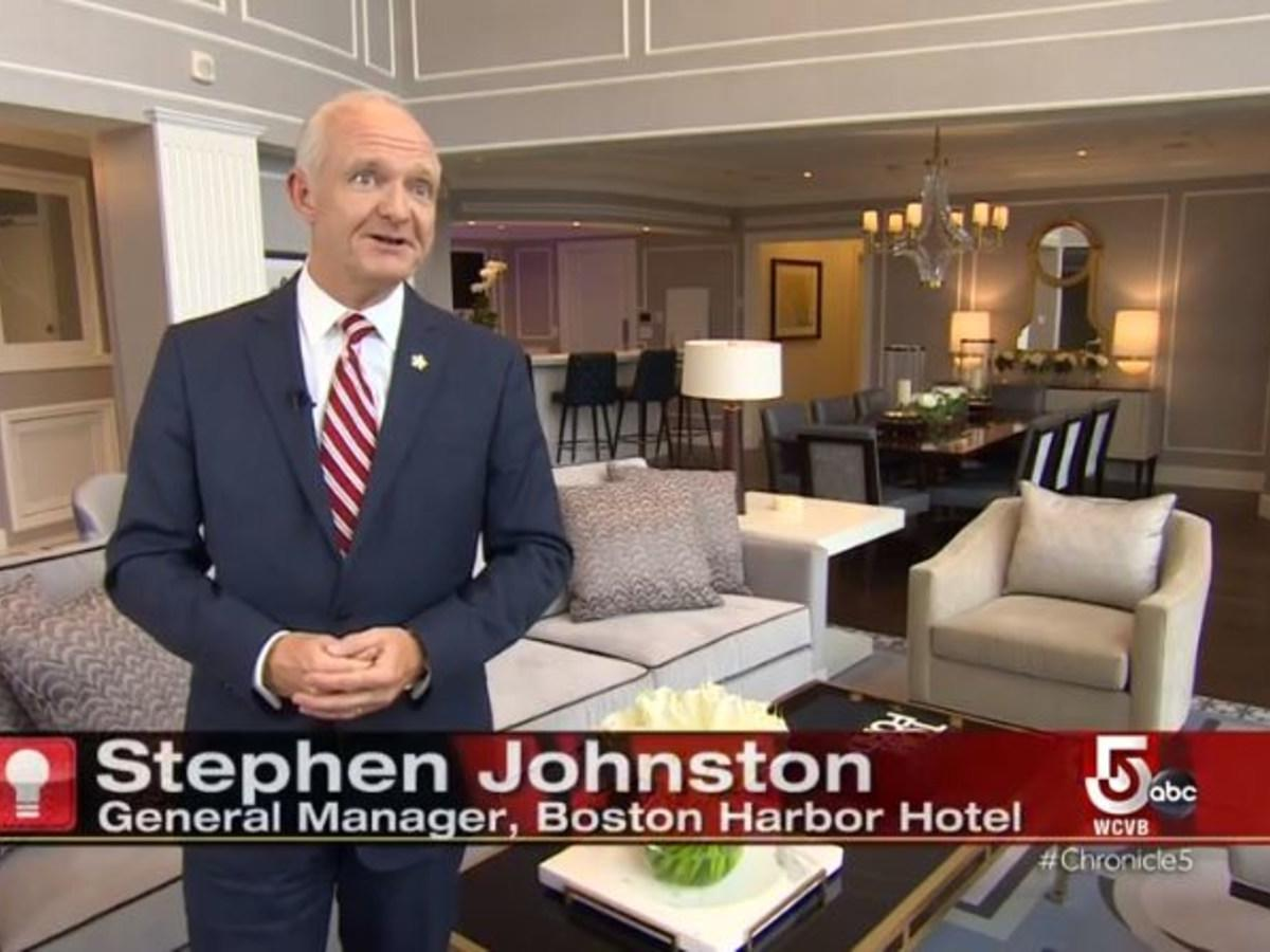 Still from TV interview with hotel general manager