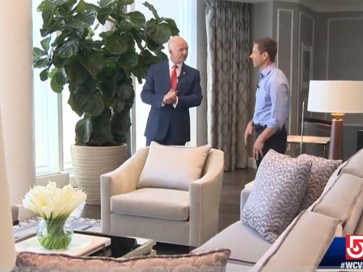 TV still from interview with general manager