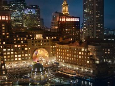 Boston skyline view at night
