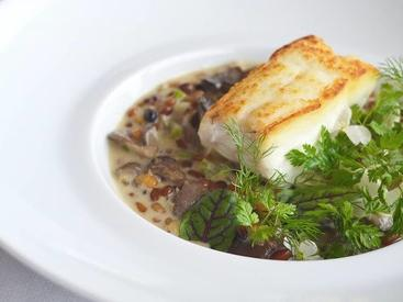 Artfully plated halibut entree