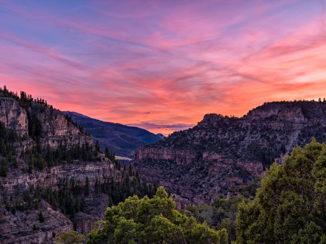Glenwood Canyon at sunset
