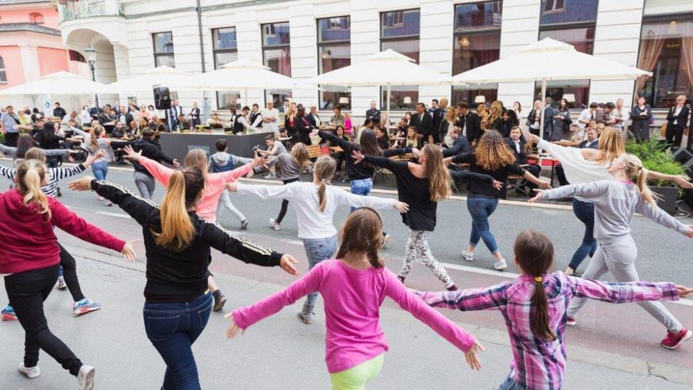 Kids playing at the street in Ljubljana