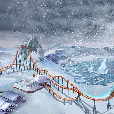 a cartoon of a roller coaster in a snowy landscape