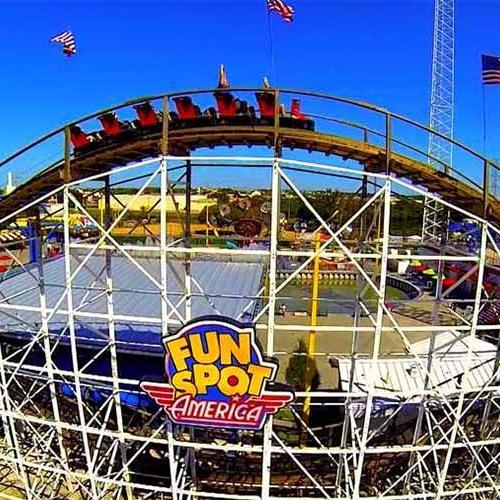 a roller coaster at Fun Spot America