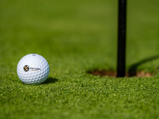 Golf ball within putting distance of hole on golf course