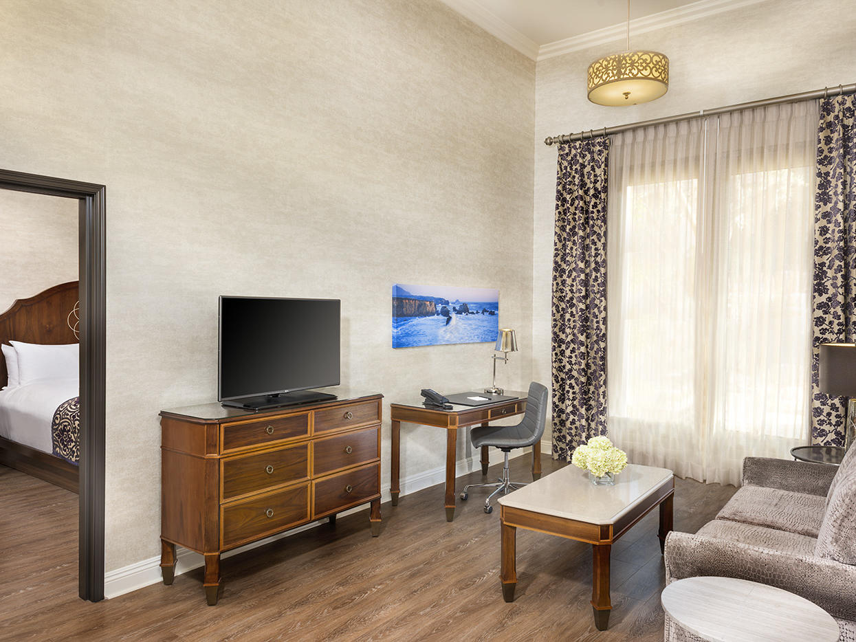 One Bedroom Suite living space with couch and television