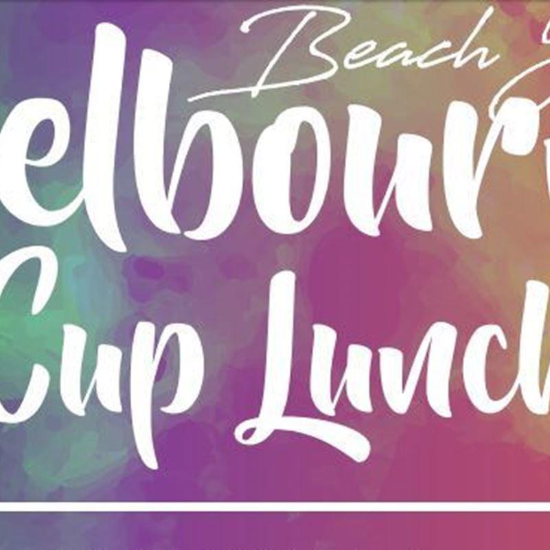 Poster with curvy font that says 'Melbourne Cup Lunch'