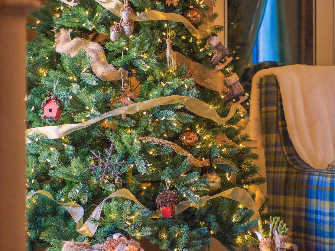 Christmas tree and sleigh decoration