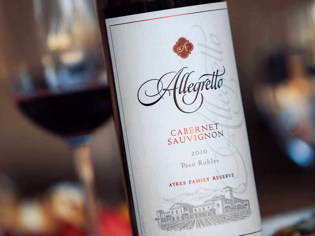 Bottle of Allegretto Cabernet Sauvignon and wine glass