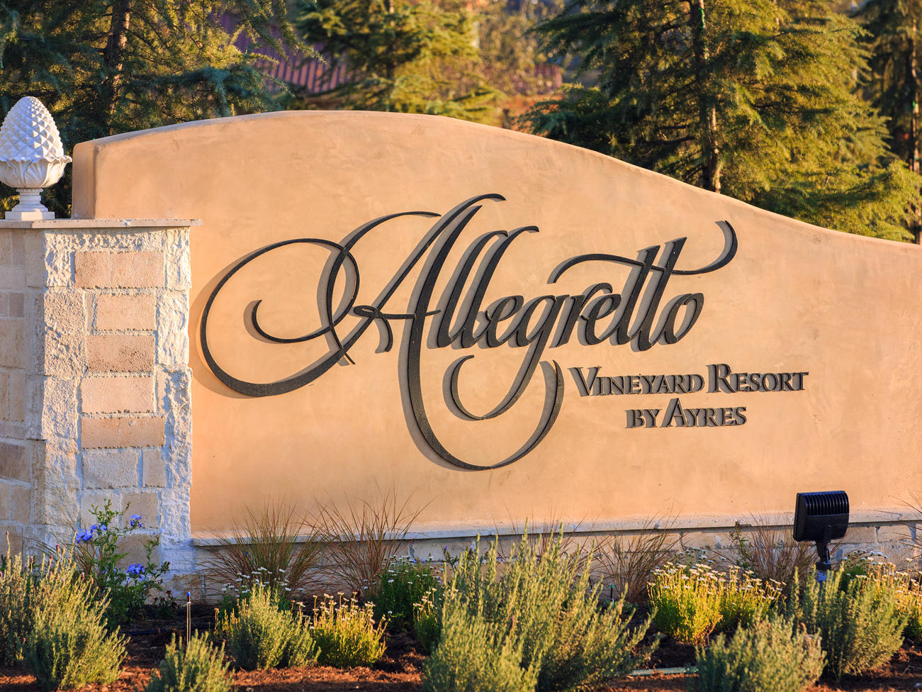 Allegretto Vineyard Resort sign at entrance