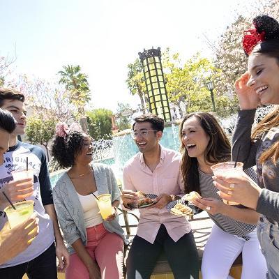friends drinknig in semi-circle