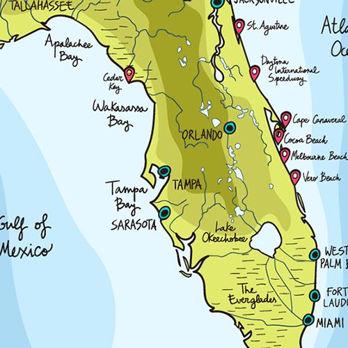 a cartoon map of florida
