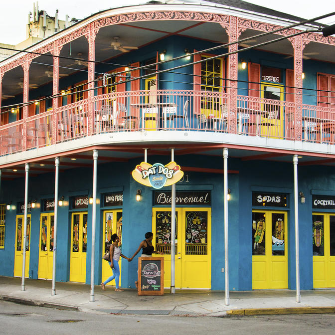 A colorful building in the Frenchmen Street near the hotel