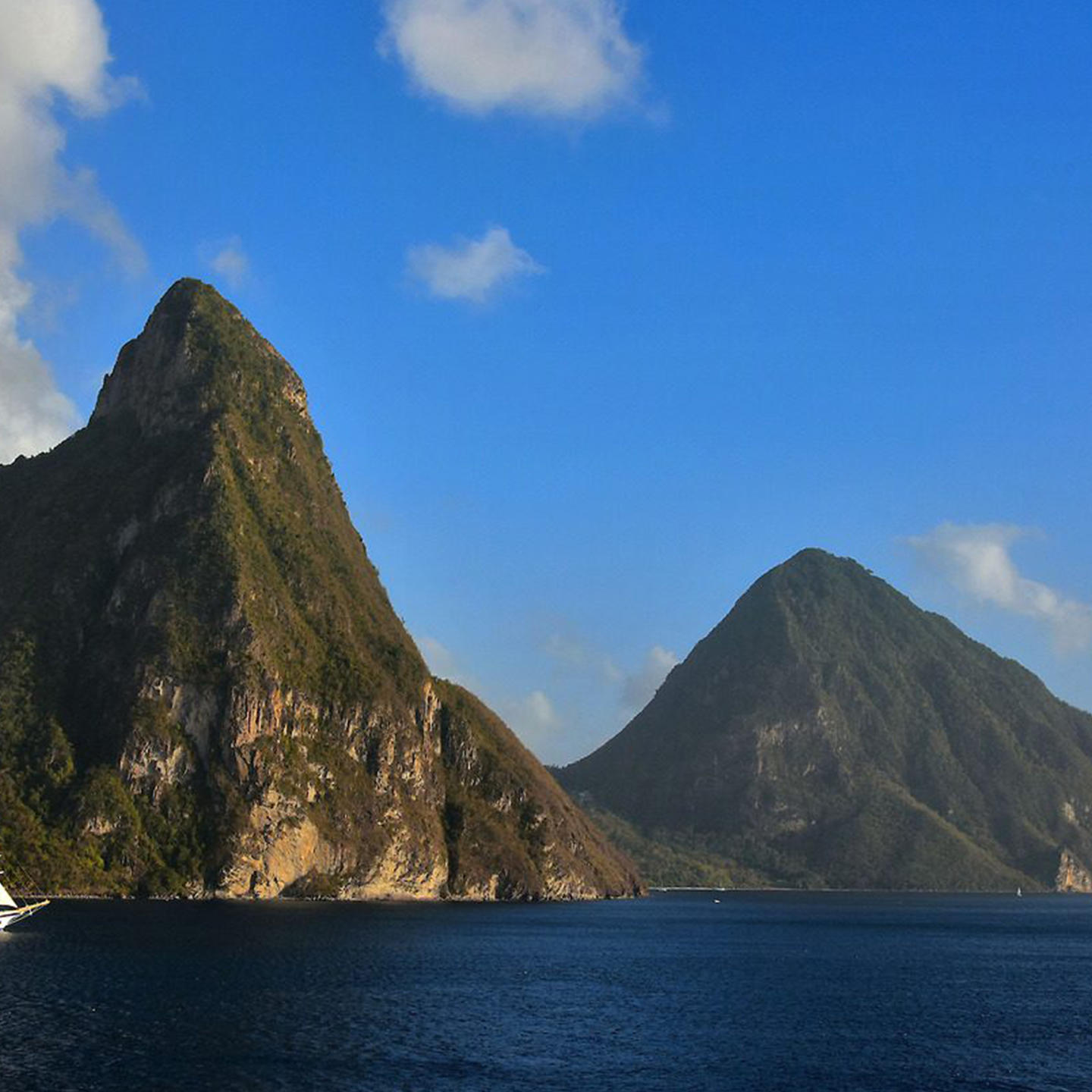 famous st. lucia mountains on ocean
