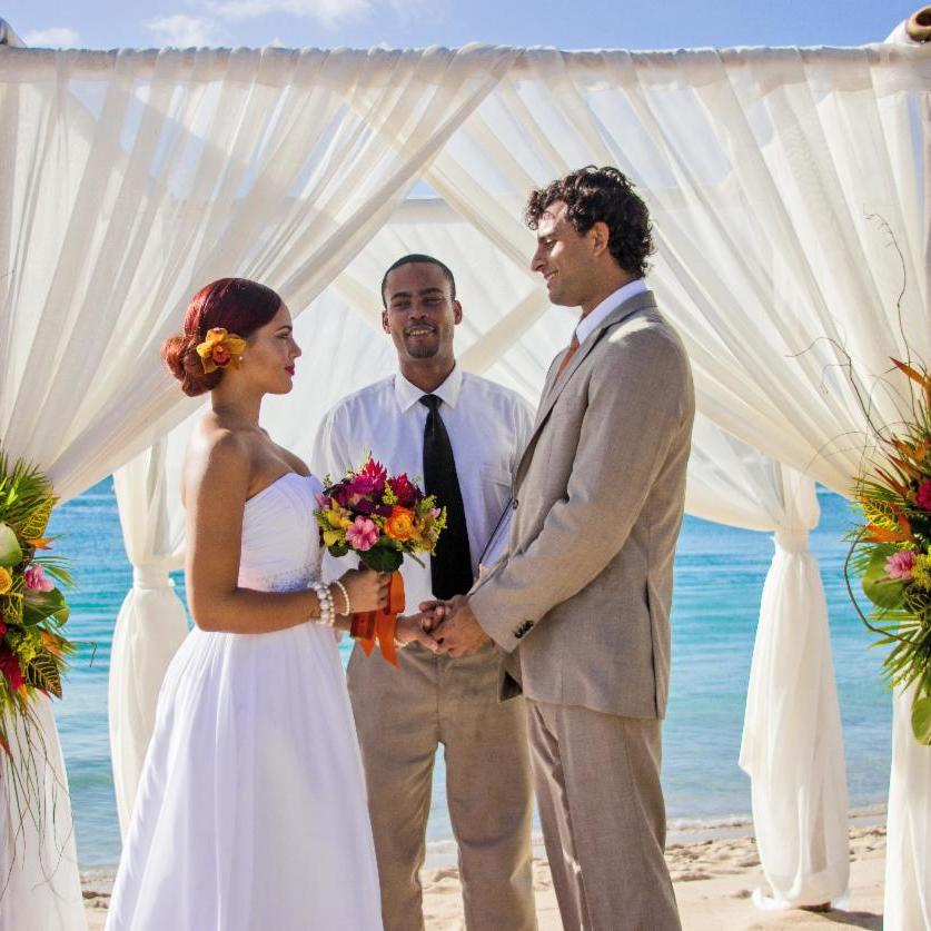 bride and groom married on beach