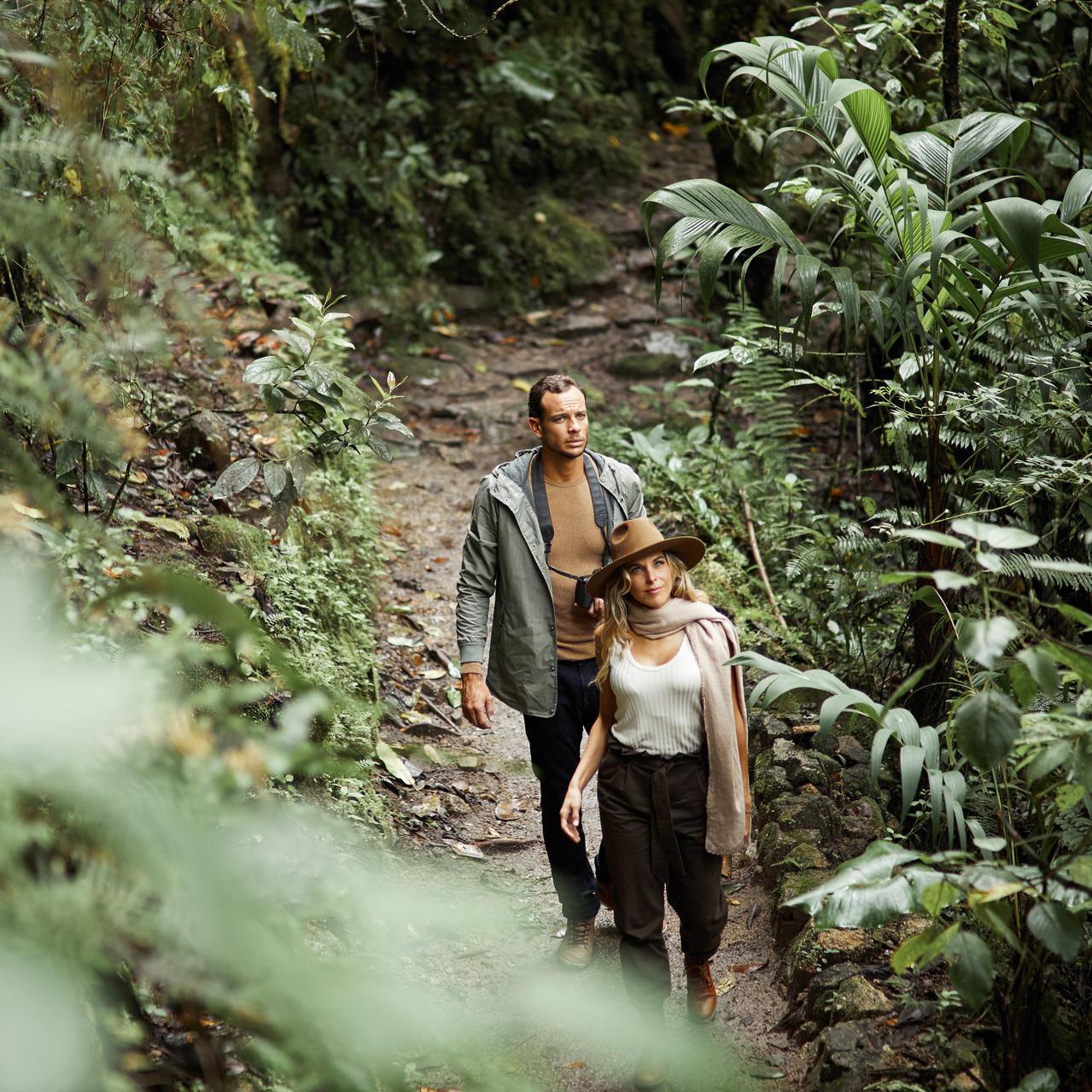 A couple exploring the The Mandor Valley near Hotel Sumaq
