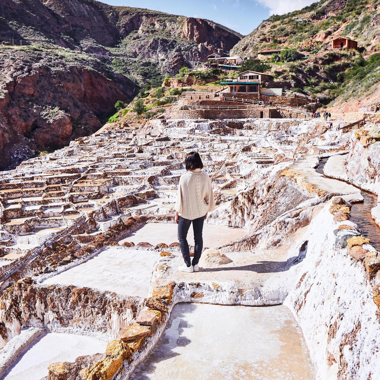 A girl in the Maras: Salt of the Incas near Hotel Sumaq