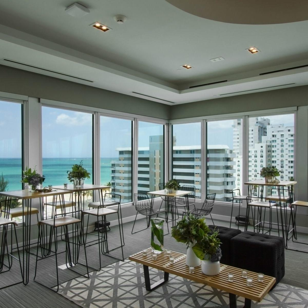 conference room lounge area with beach view