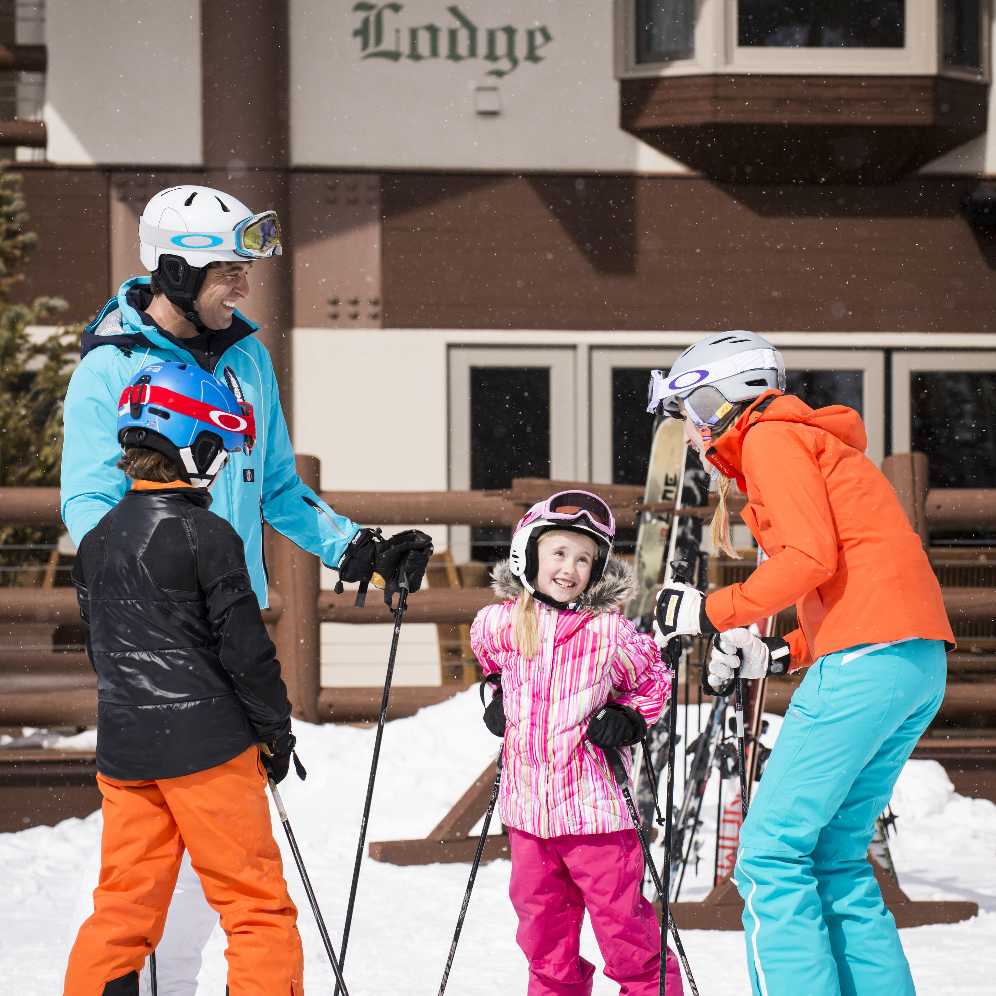 a family going skiing