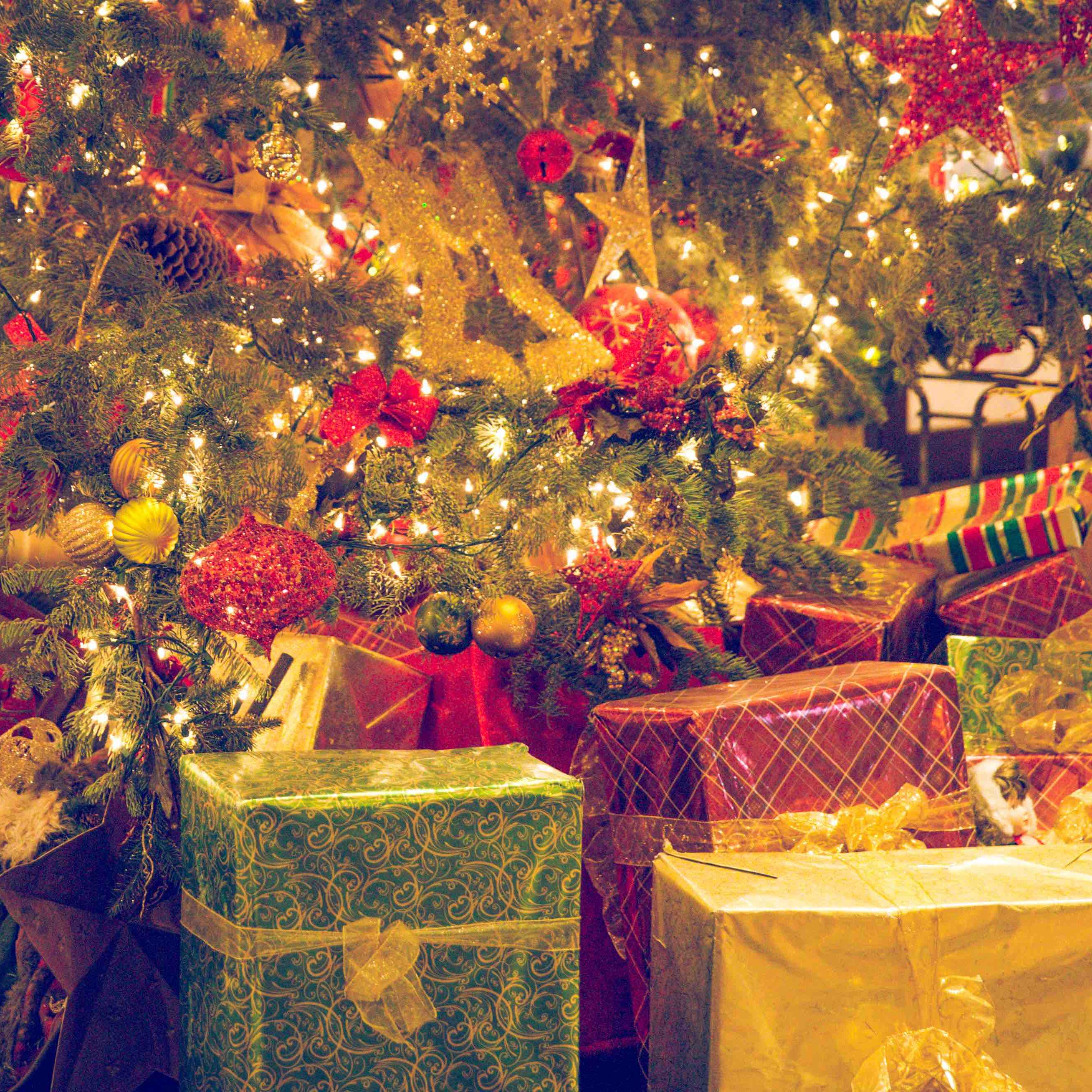 christmas present under a tree