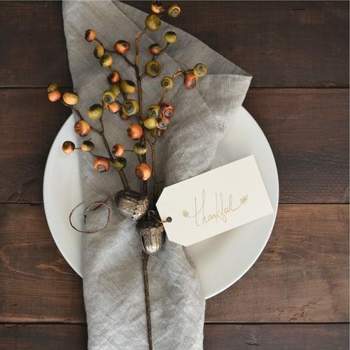 Thanksgiving table arrangements at the hotel