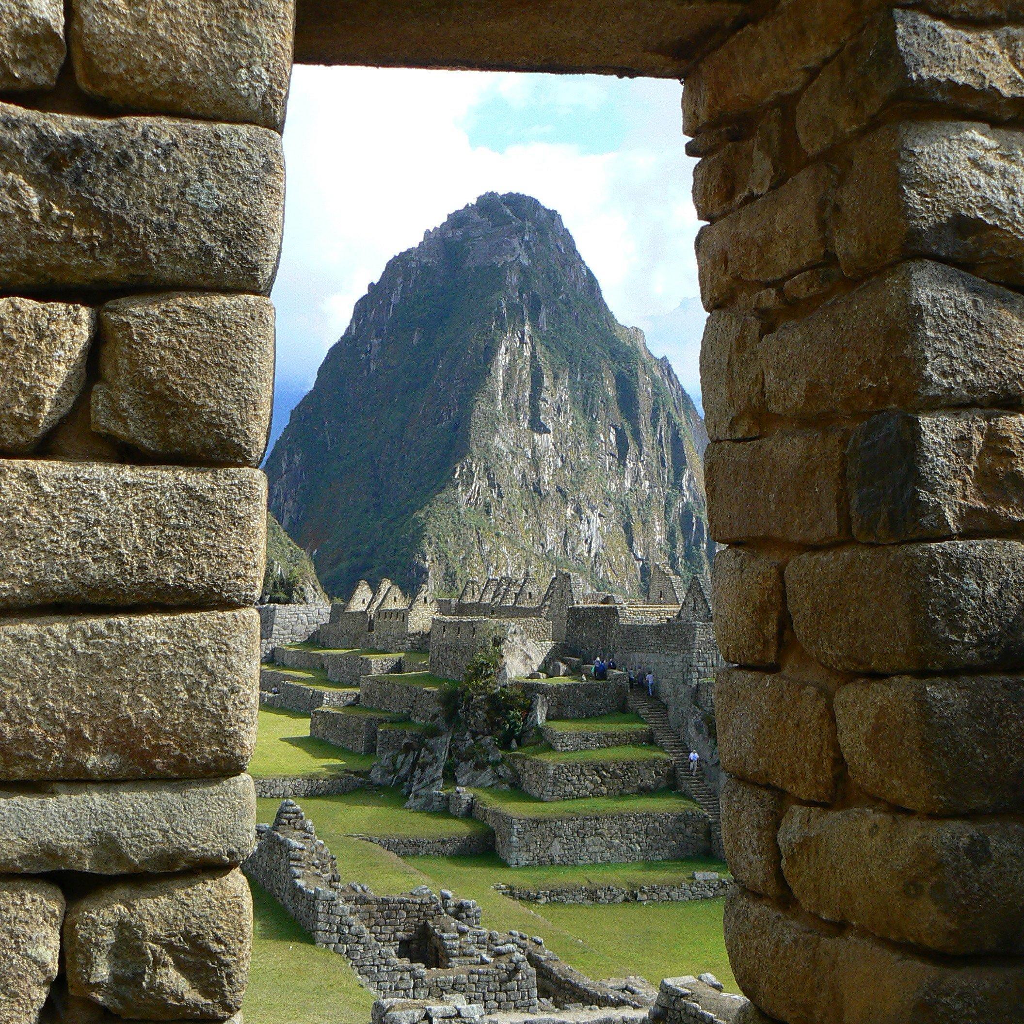 View of Huayna Picchu from a Machu Picchu doorway
