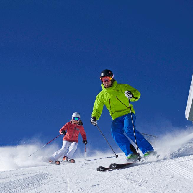 Deer Valley Resort skiers bluebird day