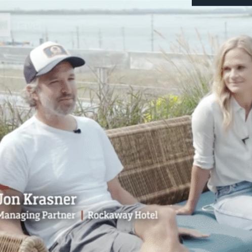 Jon Krasner & a reporter of CNN sitting at The Rockaway Hotel