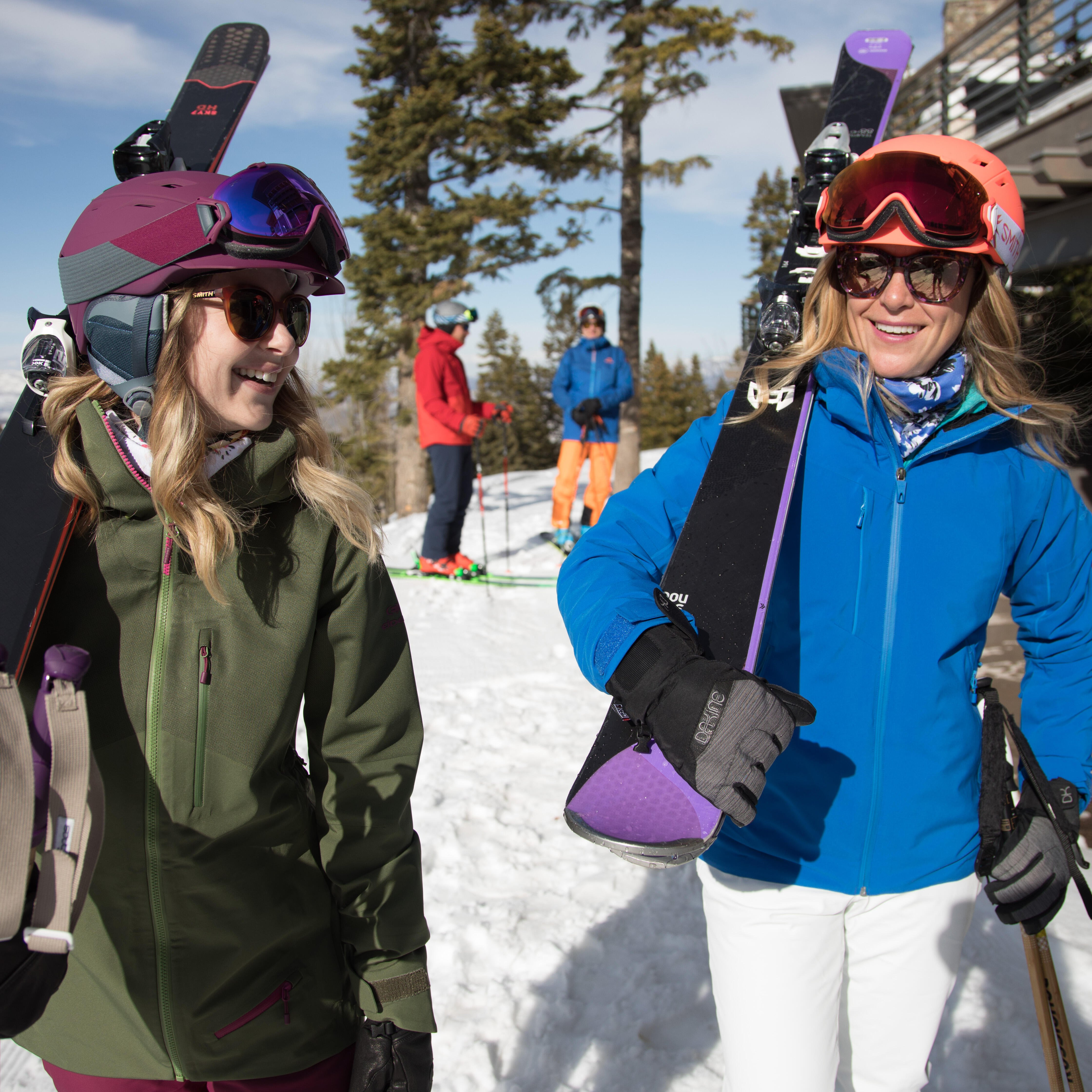 female skiers on a sunny day